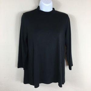 J Jill black mock turtleneck long sleeve knit XS